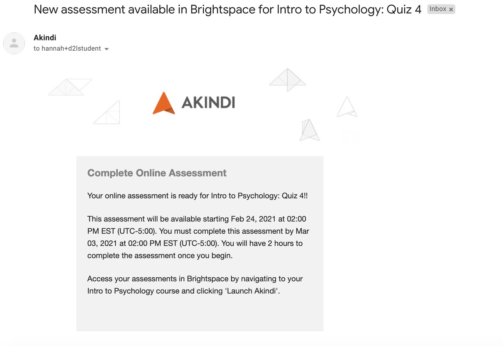 email from akindi: notification of online assessment