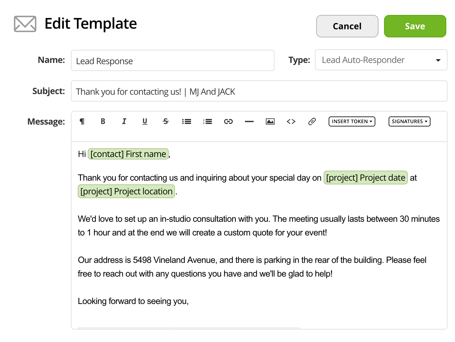 Putting an existing email template into 17hats | 17hats Help Center