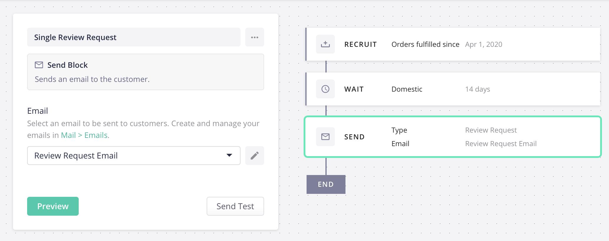 sequences send block options