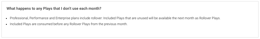 What Happens To Any Plays That I Don't Use Each Month?