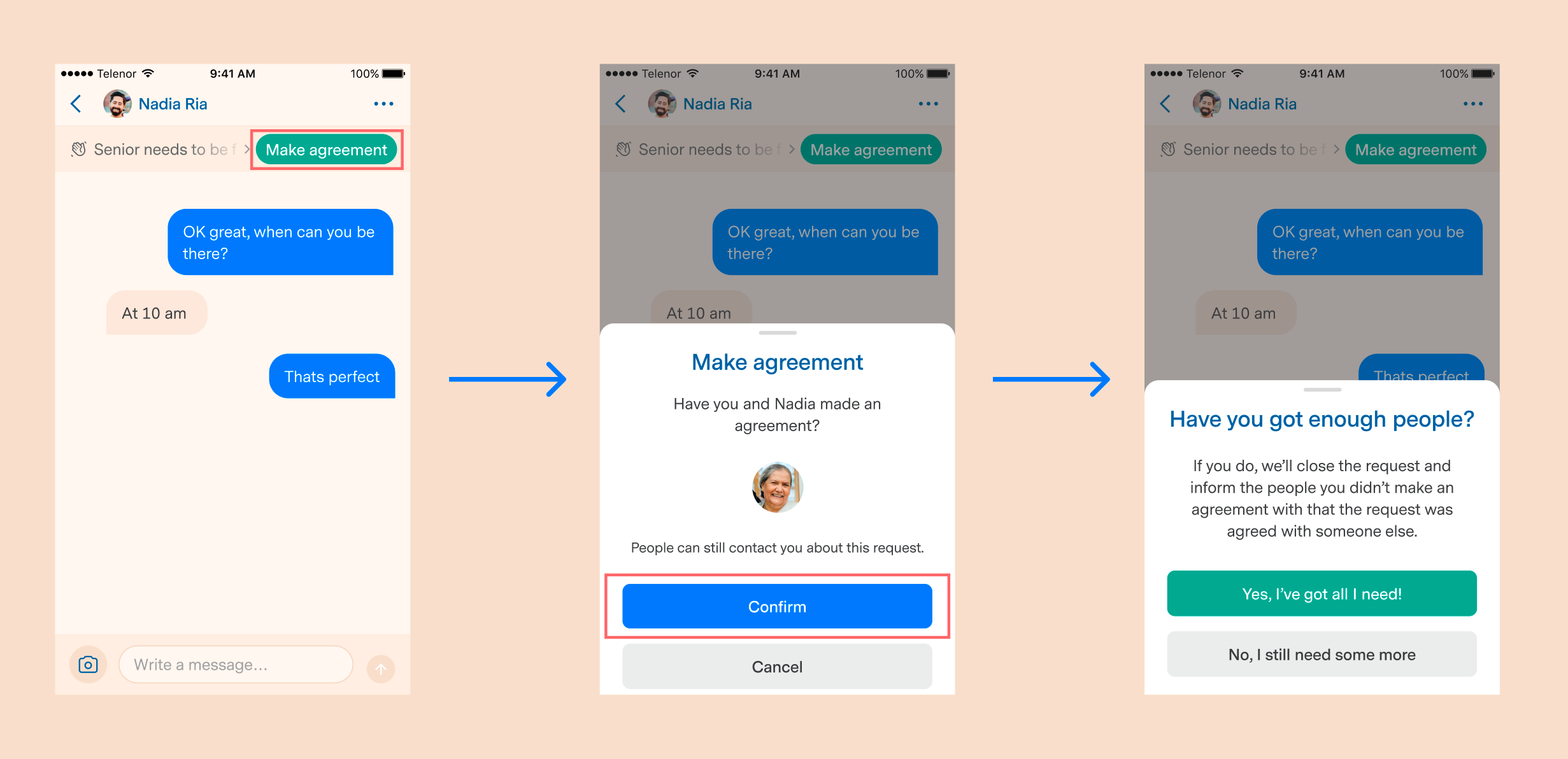 How to make agreement with multiple people from a message thread in Nyby