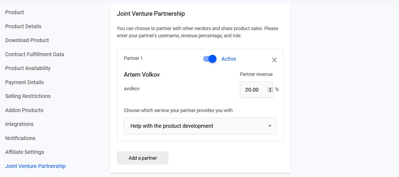 Active joint venture partner