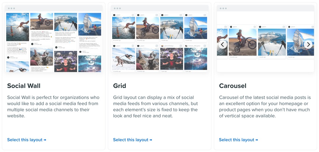 Select the Flockler layout: Wall, Grid, or Carousel on Flockler's editing tools