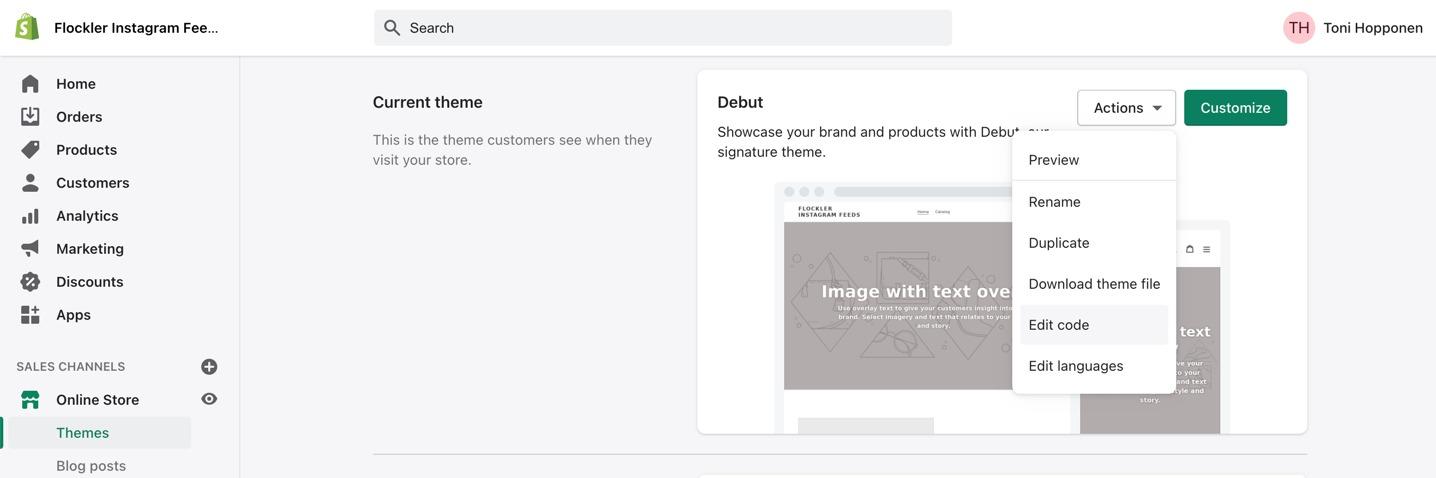 Edit theme on the Shopify admin view