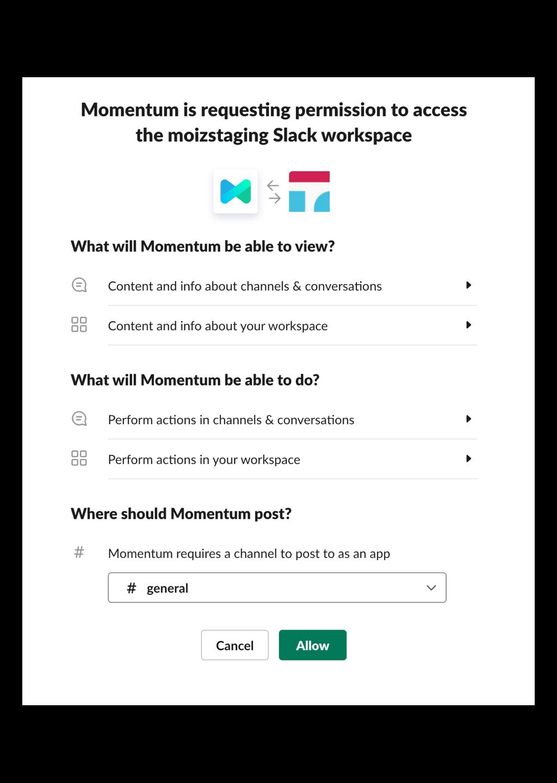 Install Momentum in Slack