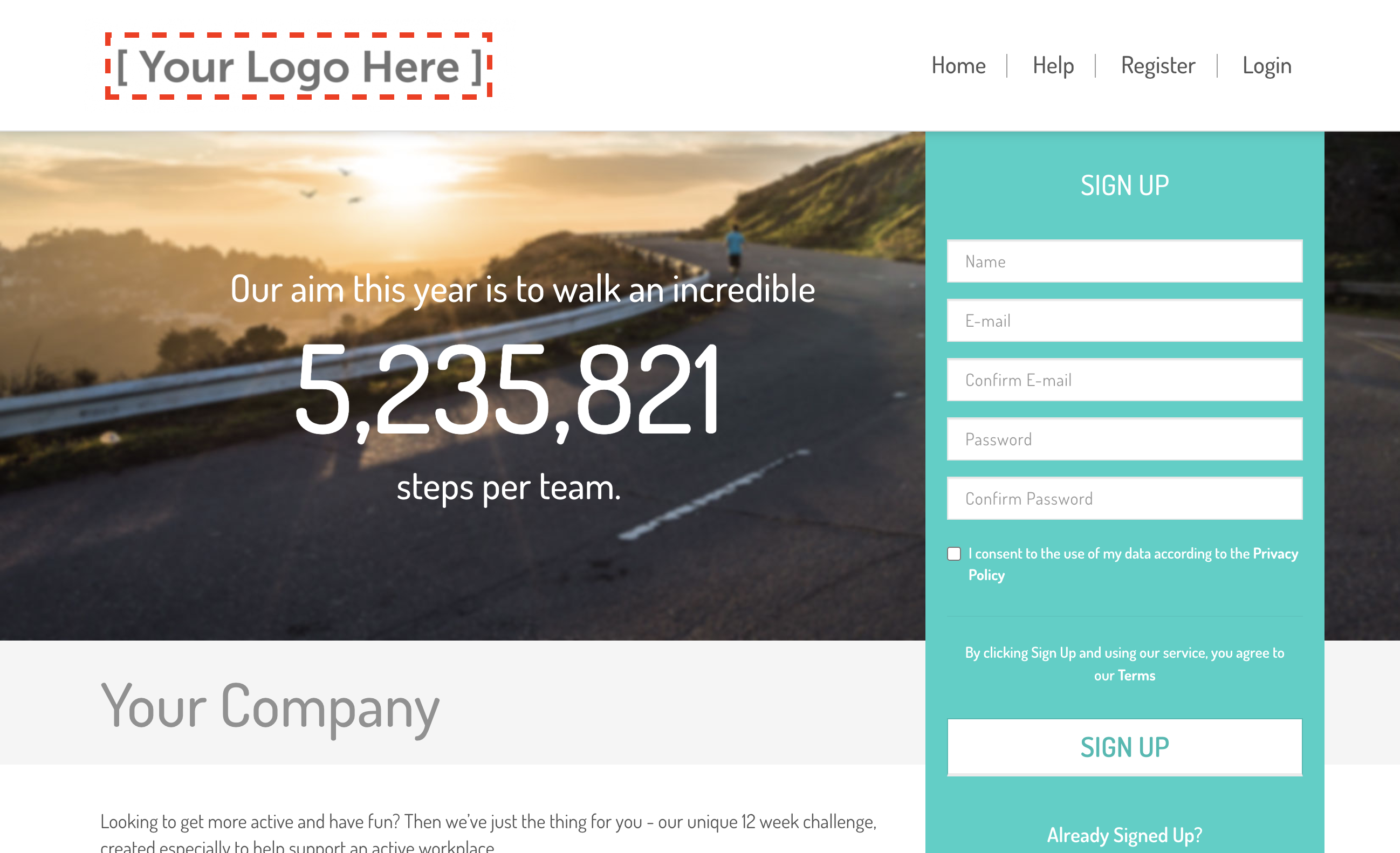Logo on website landing page
