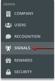 Zoomed in shot showing the Signals icon located fourth from the top in the Admin dashboard.