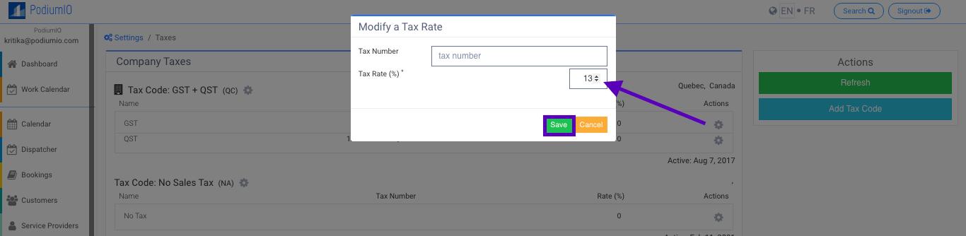 Change company taxes