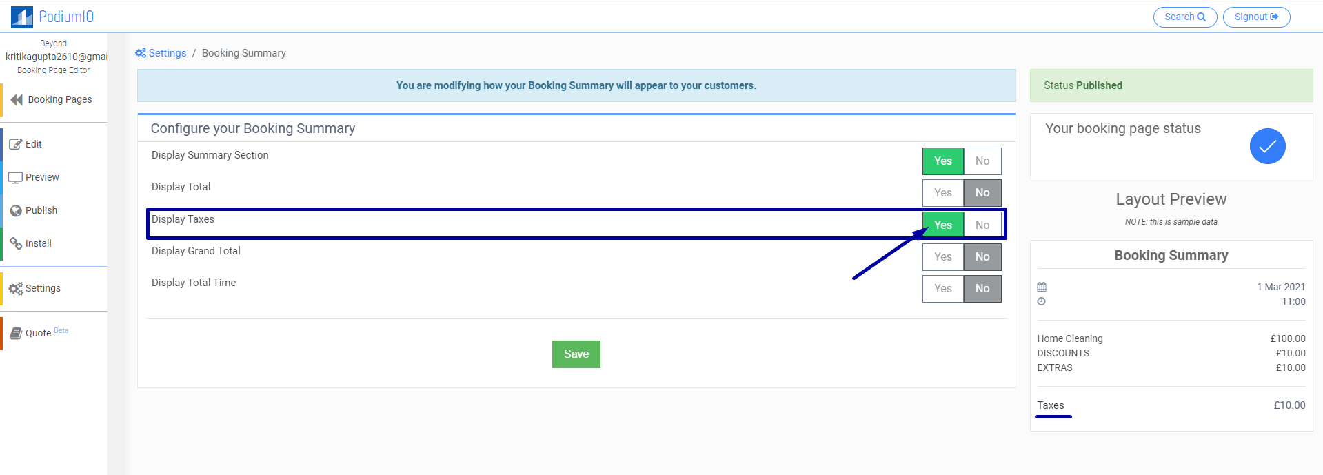 Display Tax on Booking Page