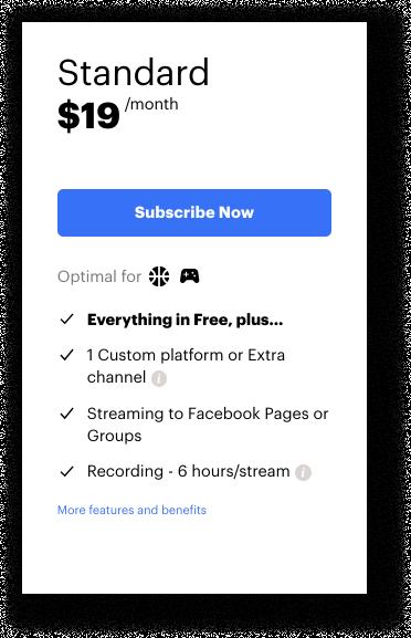 Restream Standard subscription plan