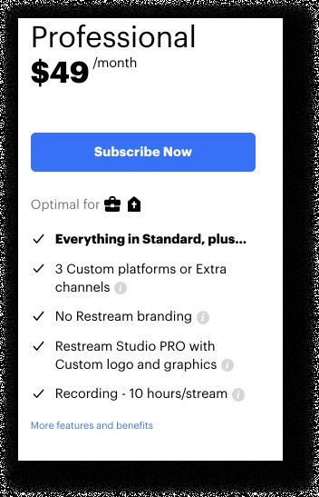 Restream Professional subscription plan