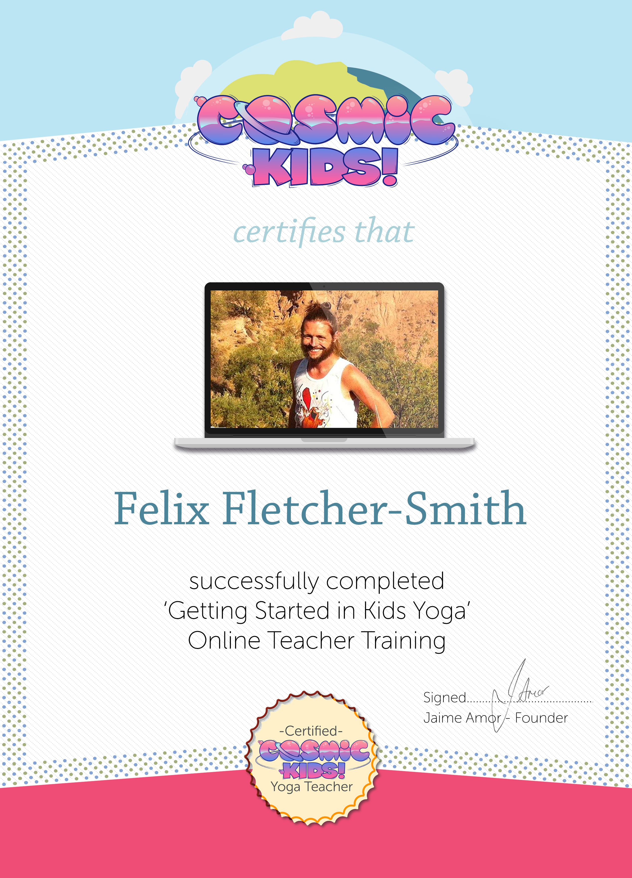 How does the certification work cosmic kids helpdesk you can use your certificate see below as evidence to insurance companies schools and parents that you have the required skills to teach safe inspiring 1betcityfo Gallery