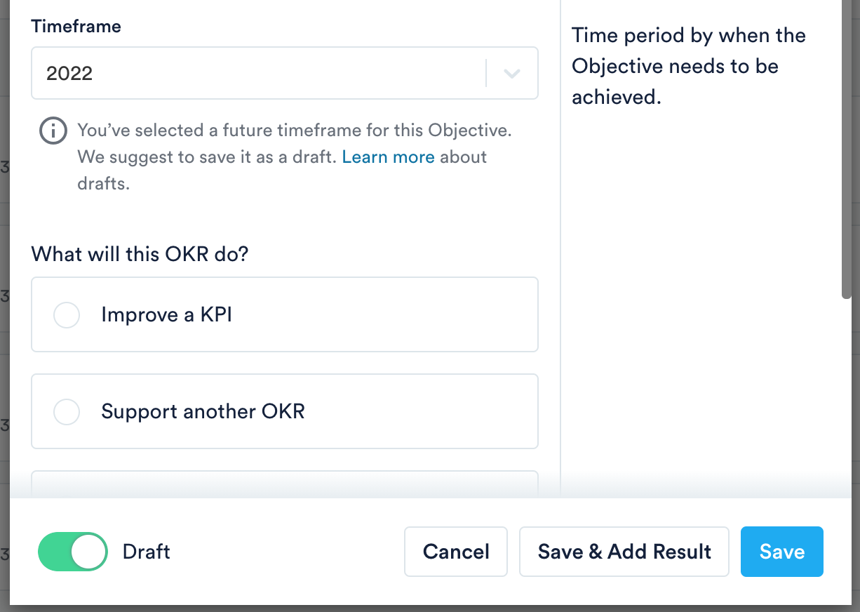 Draft toggle when creating an OKR