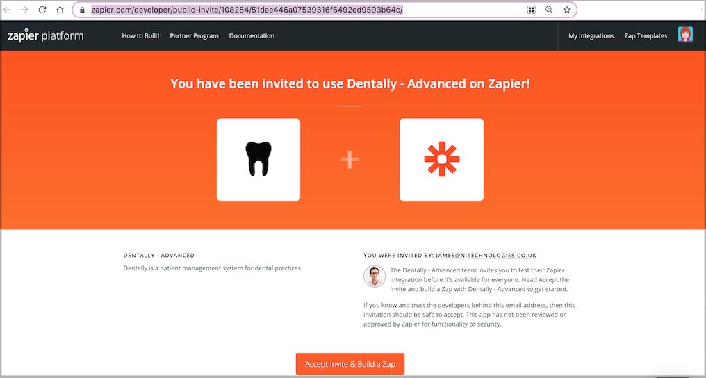 Dentally invitation to join Zapier with Accept invitation button