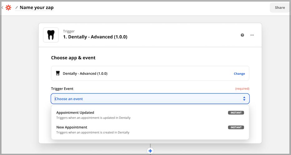 Dentally Choose app & event in Zapier