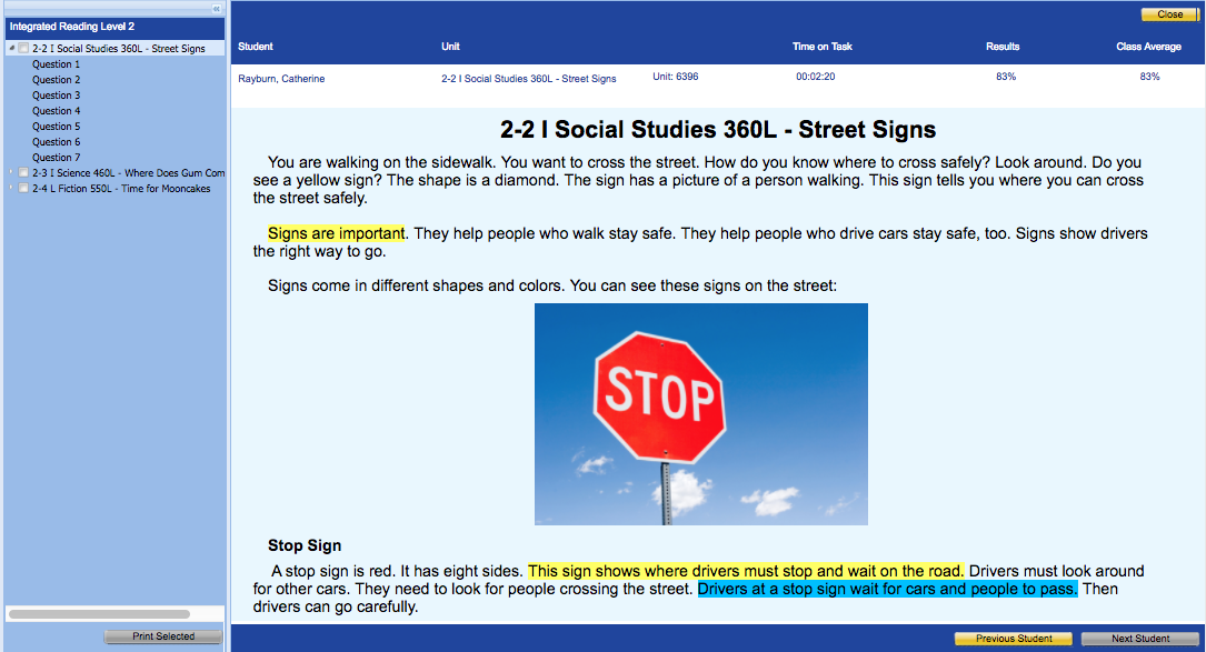 How Can I View Integrated Reading Results Classworks Help Center - Signs of cars with names