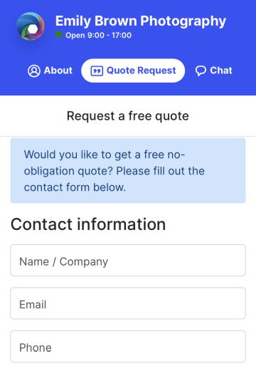 The Quote request tab on a Instant page on a mobile device