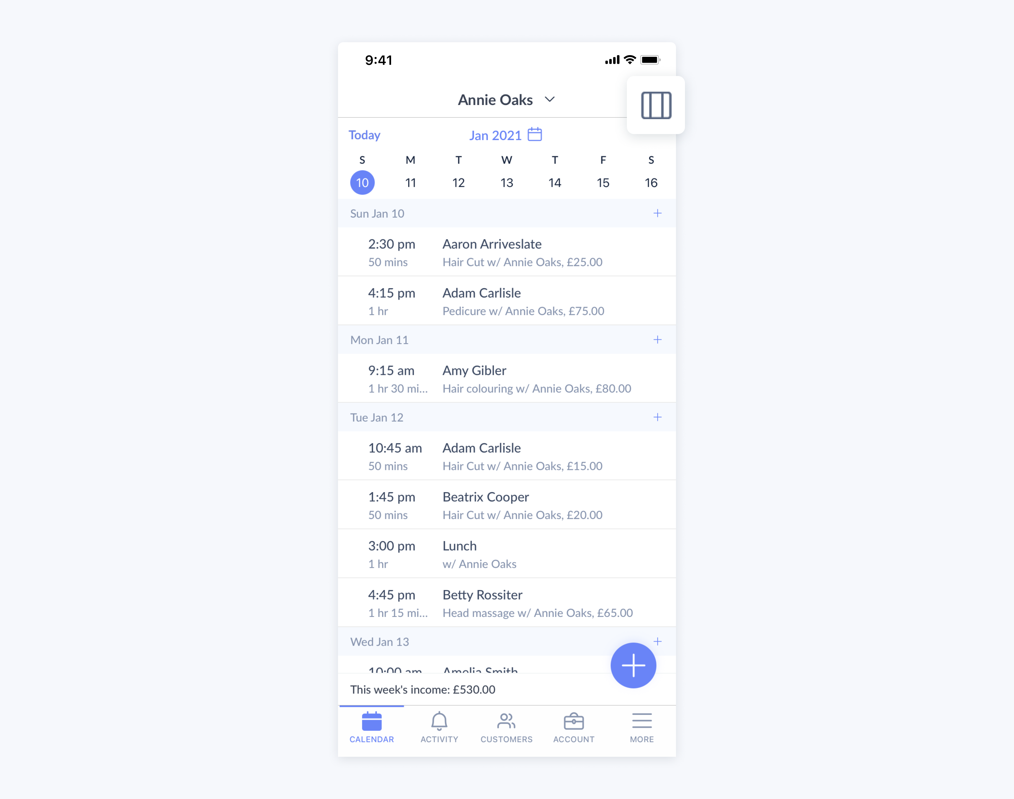 setmore mobile app showing default calendar view for appointments