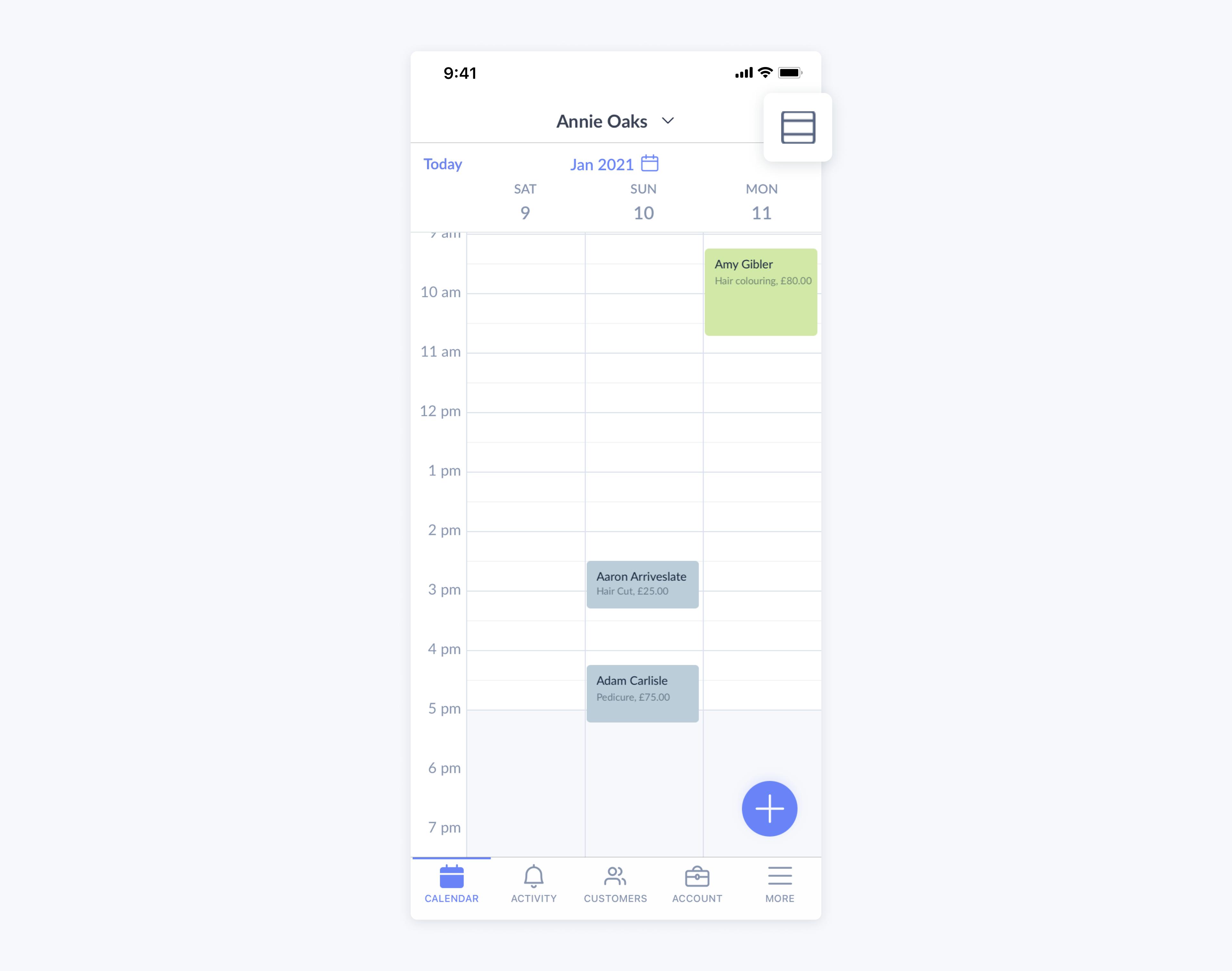 setmore mobile app showcasing agenda view calendar