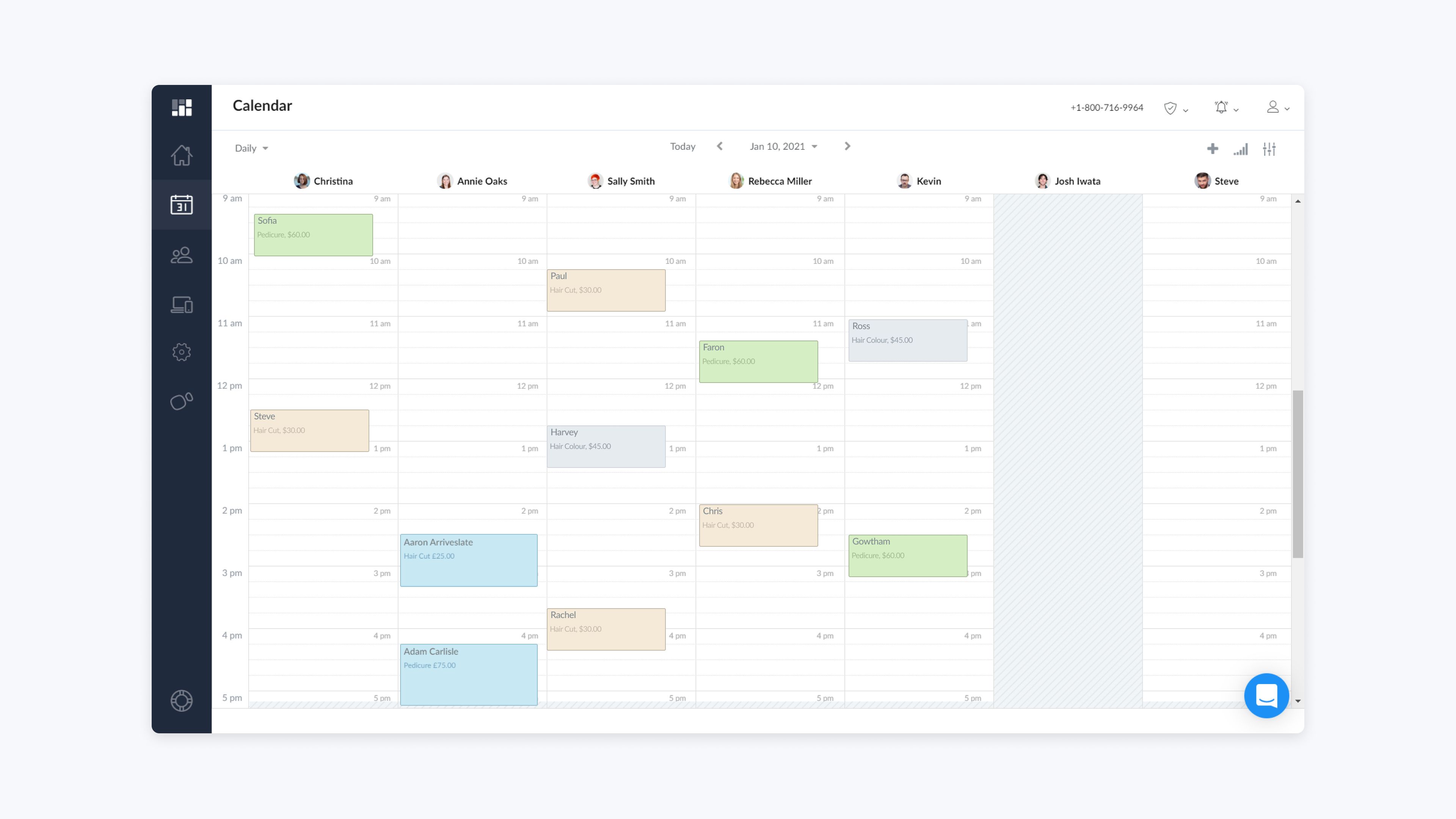 setmore web app daily view calendar with multiple staff