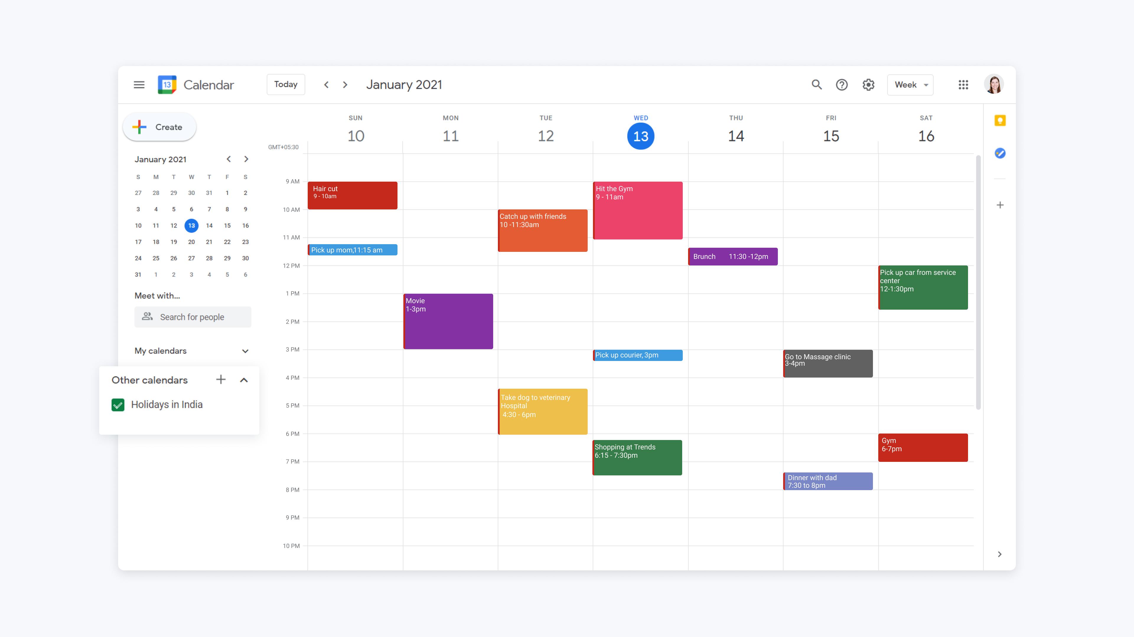 google calendar via web showing add other calendar option