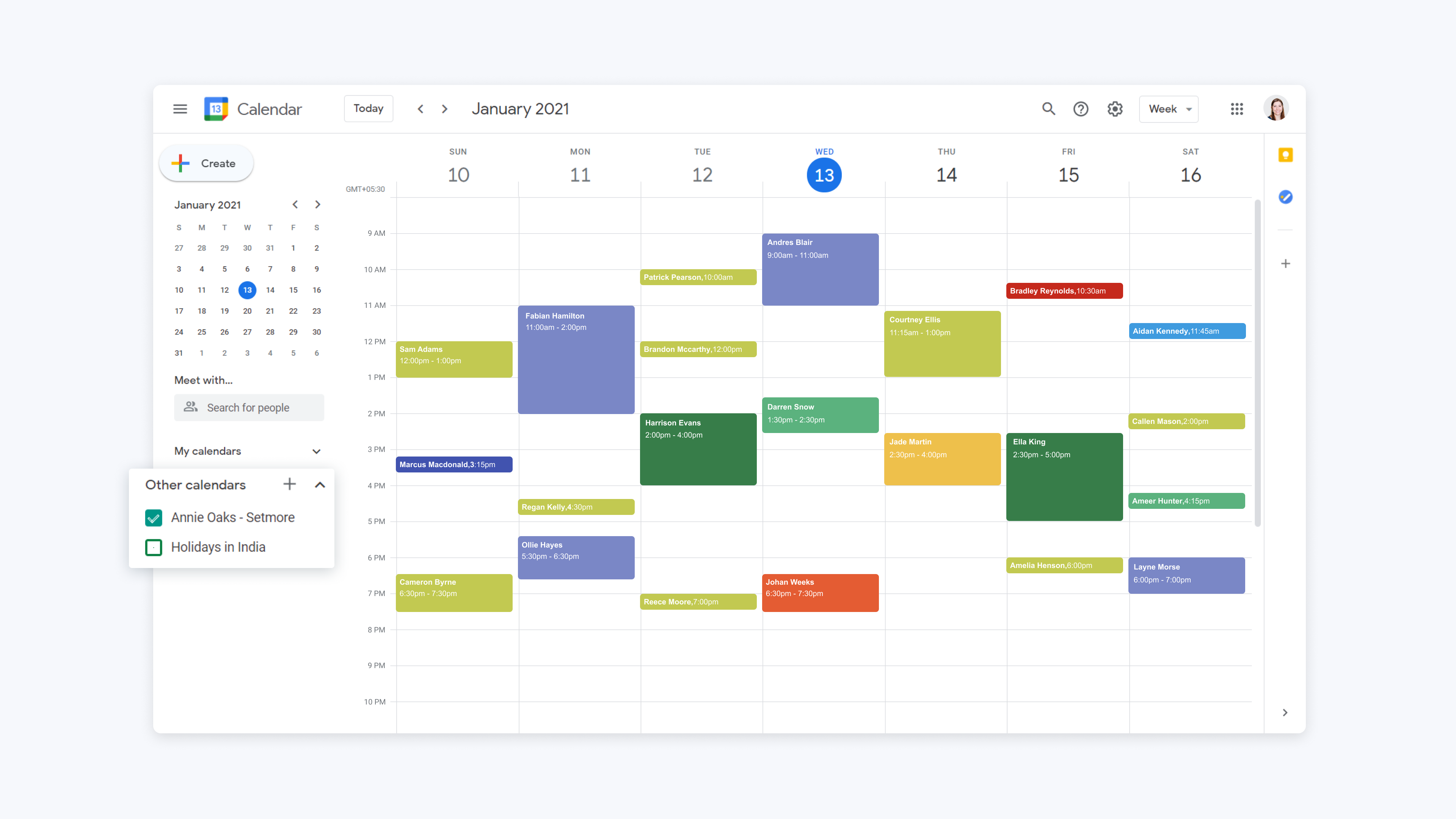 google calendar showing other calendars view after importing