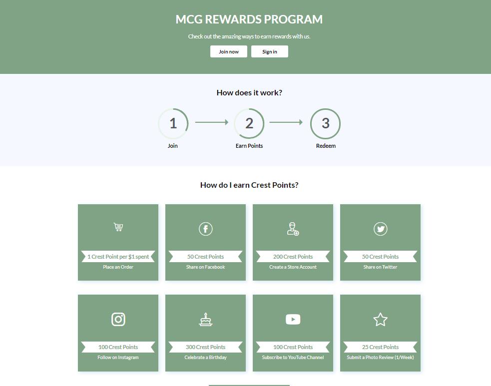 example rewards page