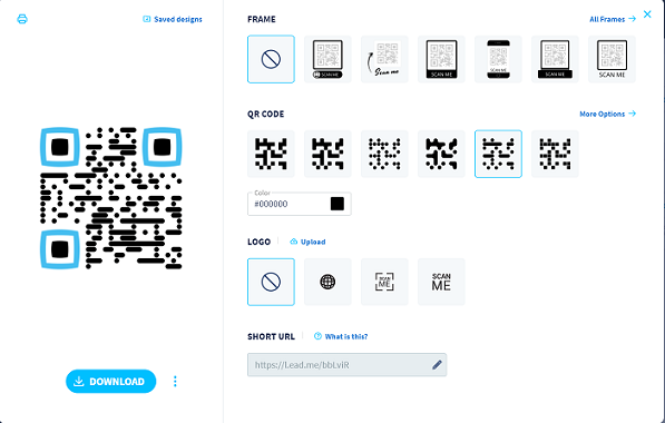 Design window and example of a QR Code without a frame.
