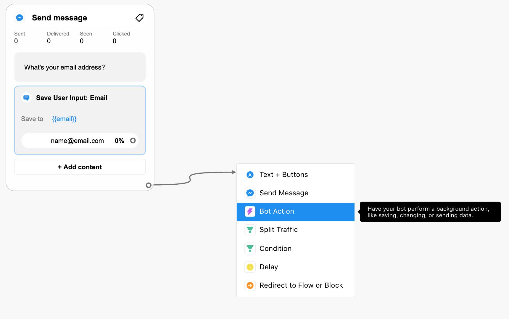 Bot building: Send Data to Google Sheets plugin at Chatfuel
