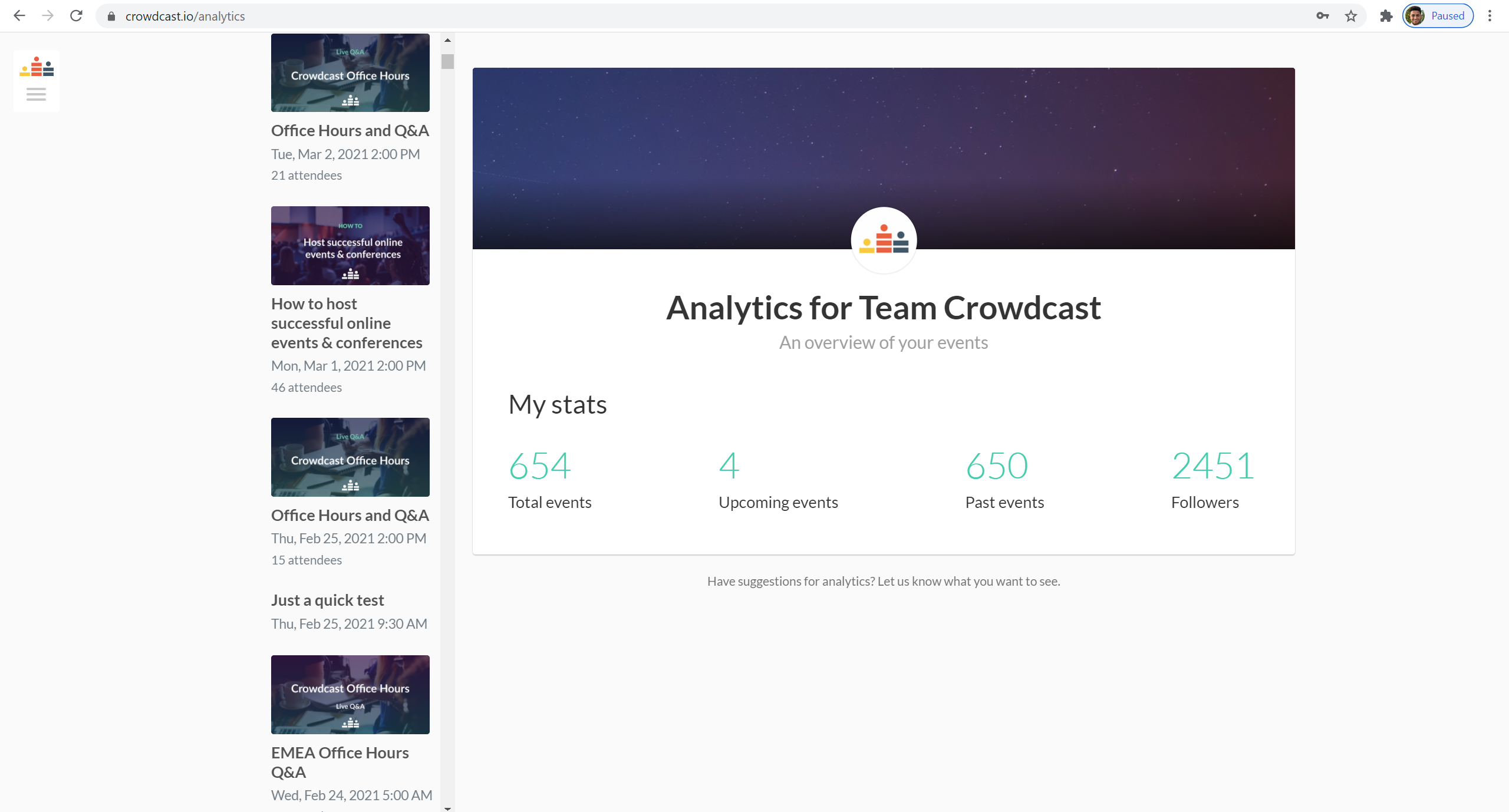 The analytics overview.