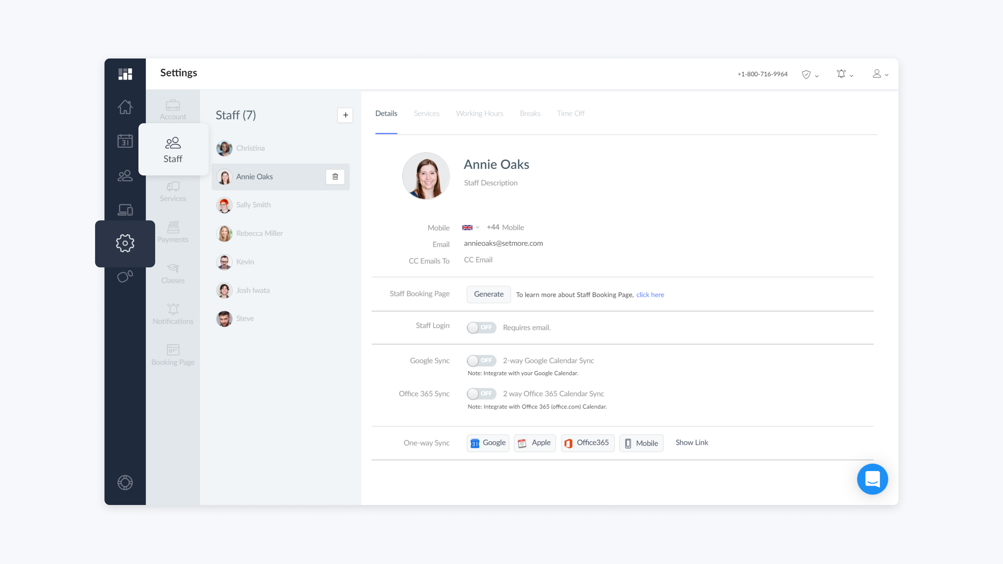 setmore web app staff profile