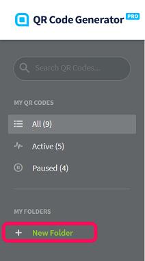 New Folder button on the sidebar menu in a QR Code Generator Pro account.