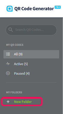 New Folder button on the sidebar menu in a QR Code Generator Pro account.
