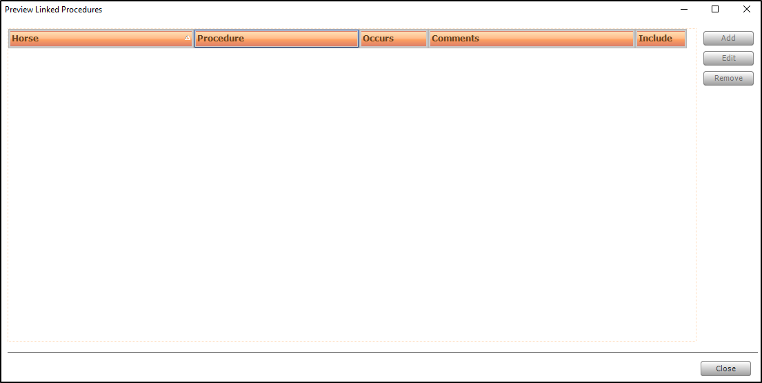 Screen shot of adding ad-hoc linked procedures.