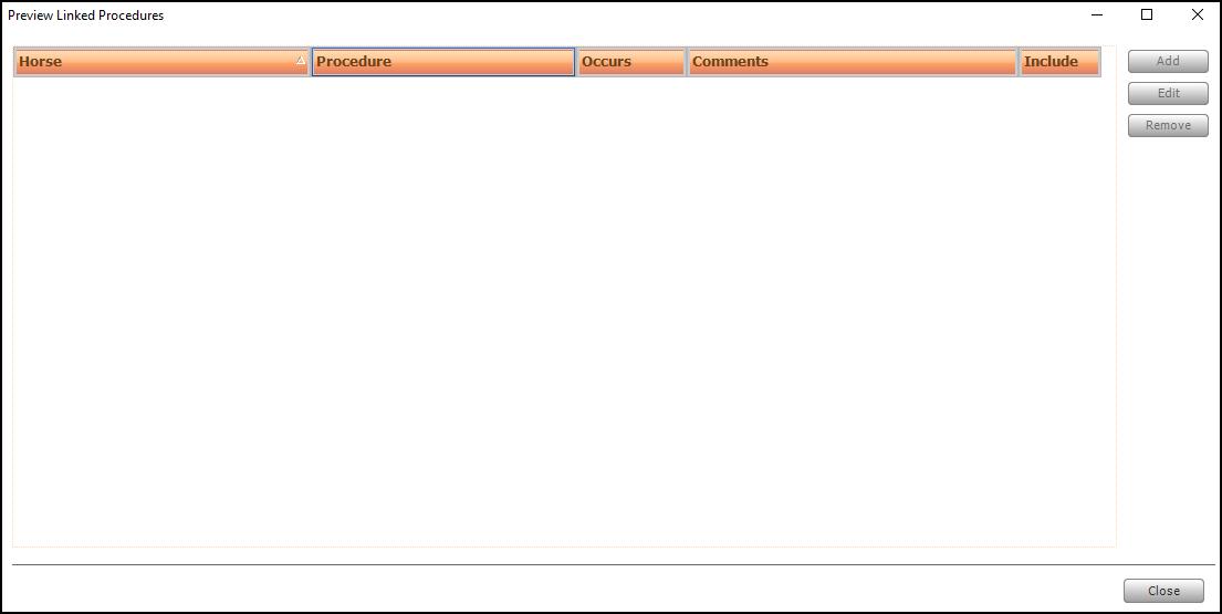 Screen shot of adding ad-hoc linked procedures.