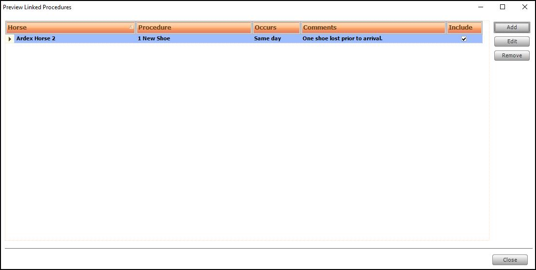 Screen shot of newly created ad-hoc linked procedure.