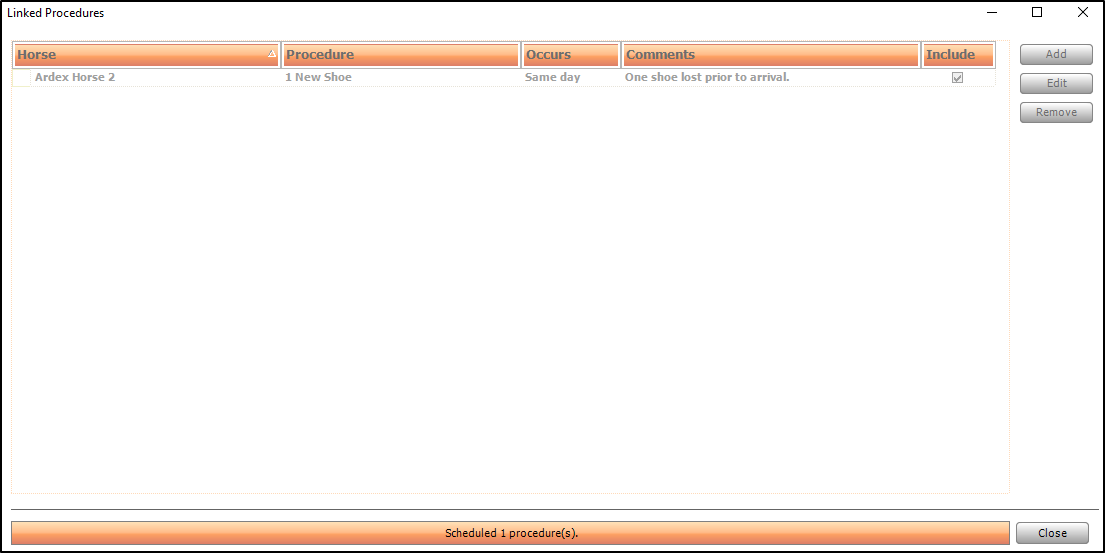 Screen shot showing ad-hoc linked procedure being created.