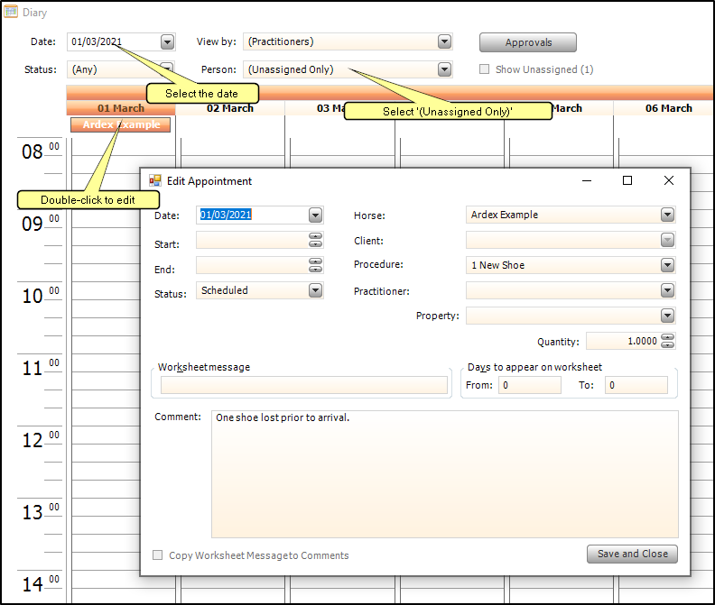 Screen shot of editing linked procedures from the procedure diary window.