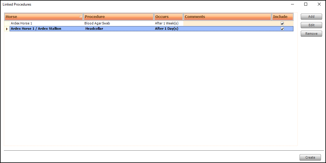 Screen shot of linked procedures for mare and foal at foot.
