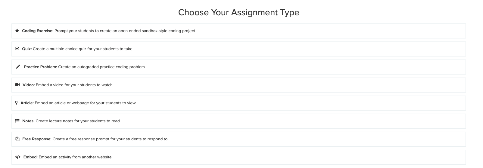 create menu of assignment types