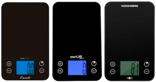 All three models of supported bluetooth scale. They are are black, rectangular, and have the buttons and display in the same location.