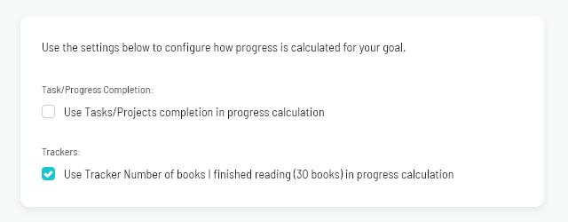 Tracking progress on a goal