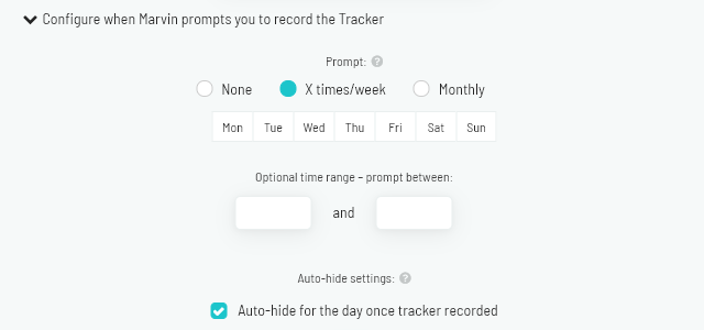 Configuring whether Marvin prompts you to record the tracker