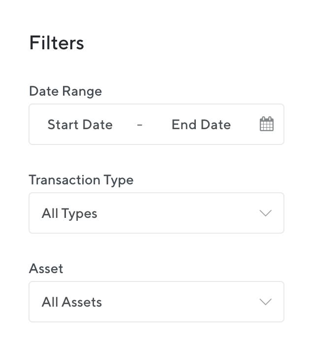 Sélectionnez une période Start Date et End Date pour saisir l'ensemble de l'historique de transactions.