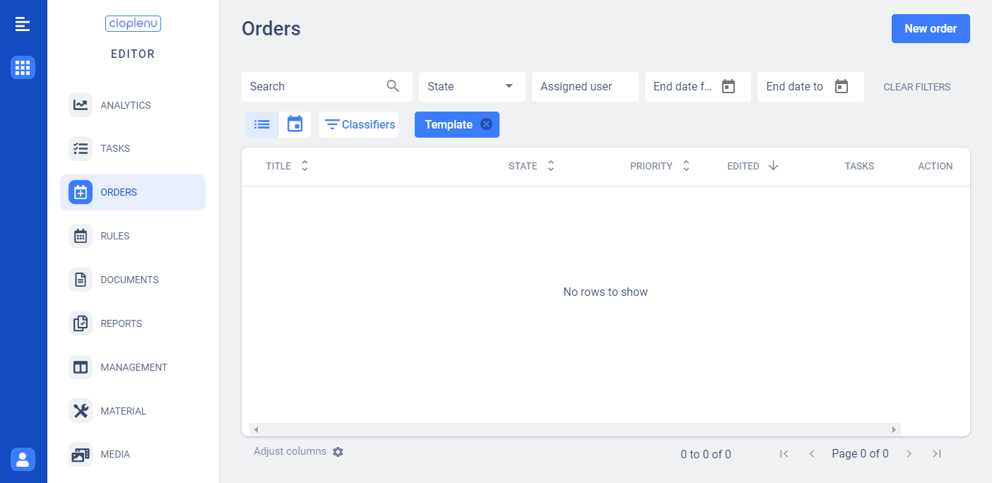 Order overview