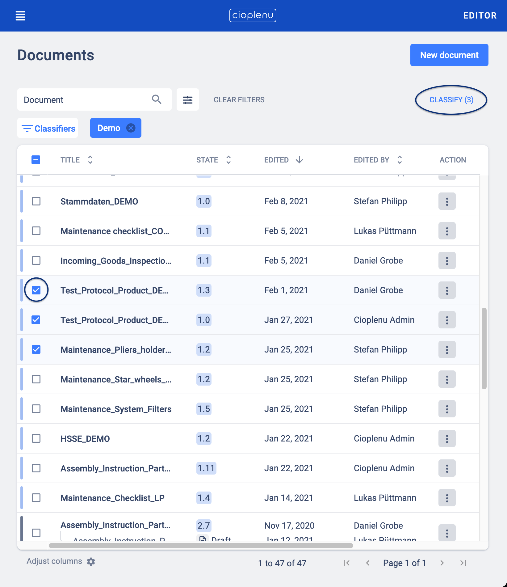 bulk classification of documents in overview