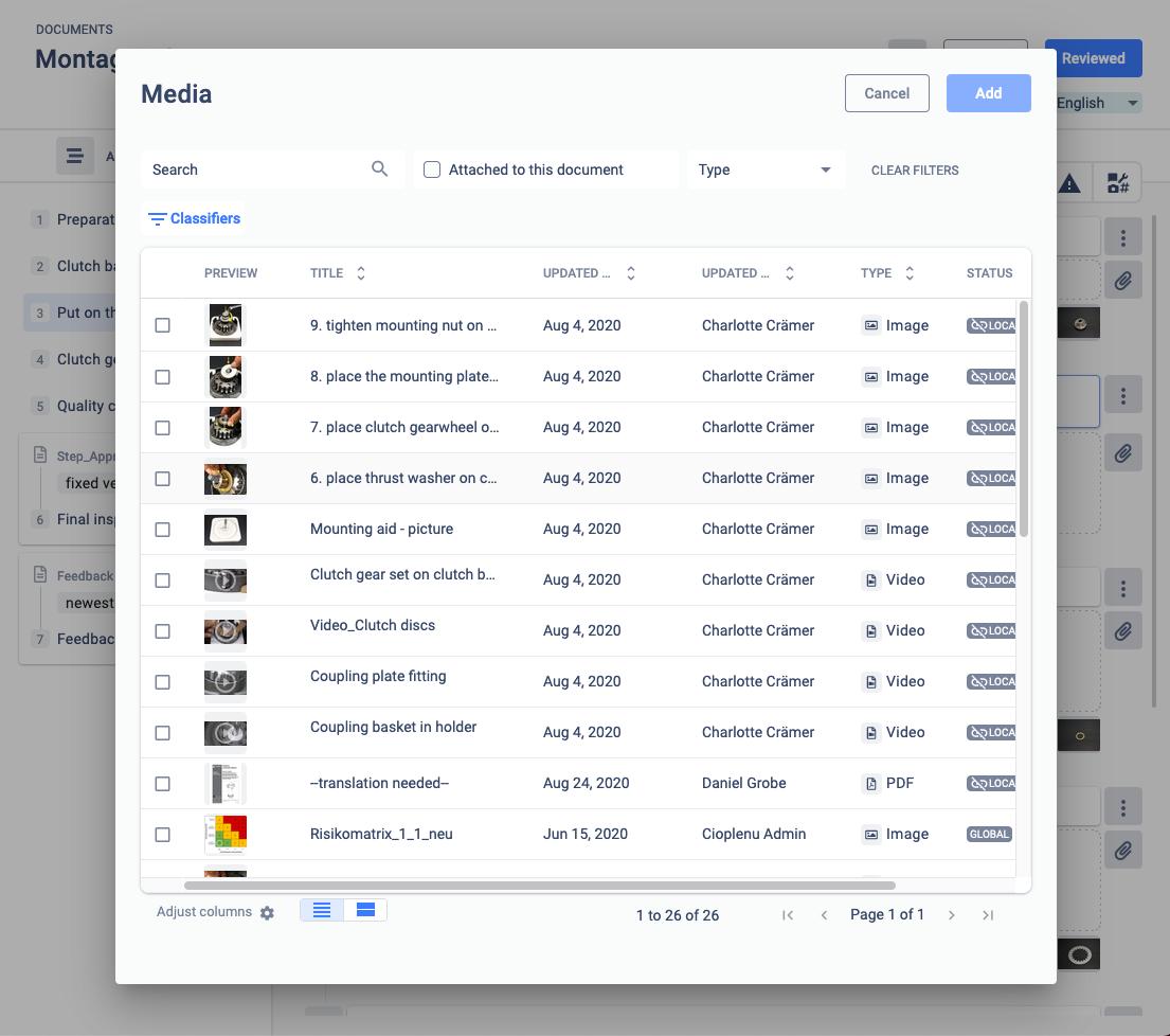classifier search for media