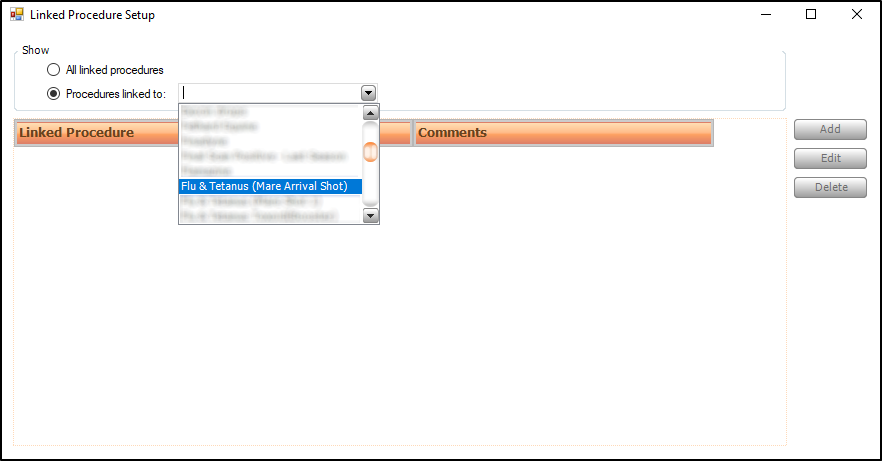 Screen shot of viewing pre-defined linked procedures for a specific procedure.