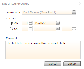 Screen shot of editing a predefined linked procedure.