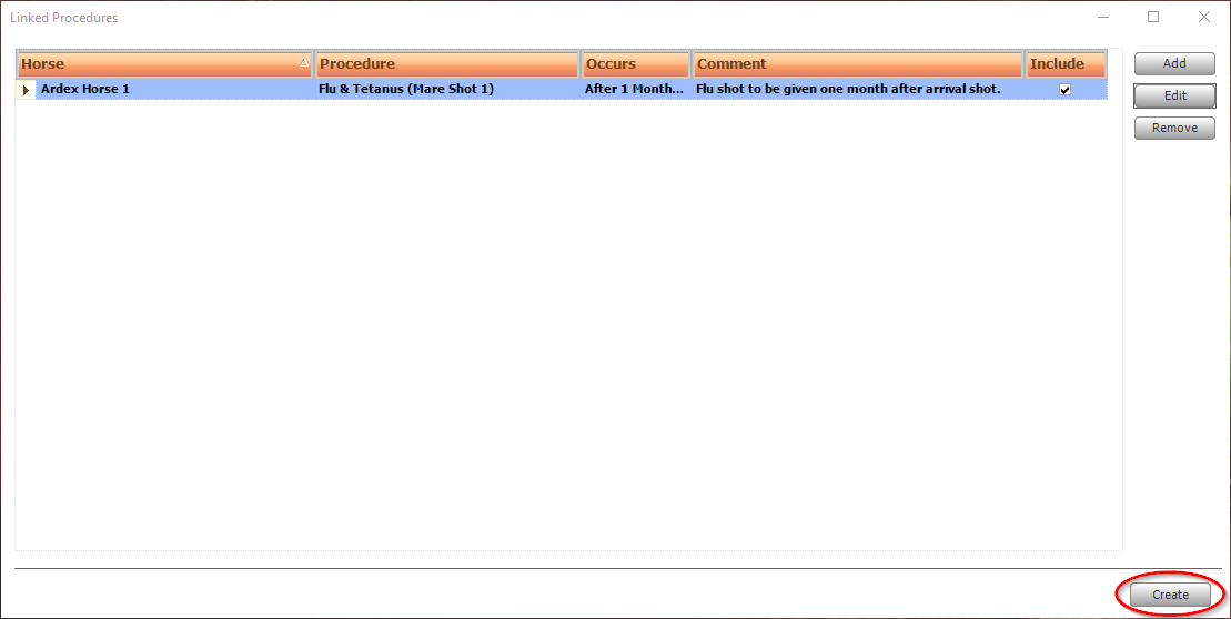Screen shot of creating linked procedures.